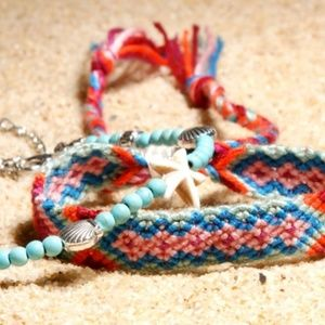 Jewelry - Anklet Set Double Boho - Rope & Bead Pink Diamond